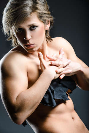 powerlifting: Powerlifting woman portrait with crossed tended hands