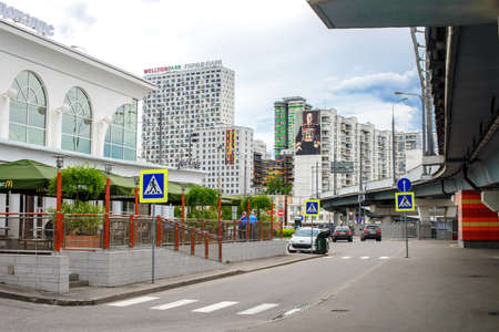 flyover: MOSCOW, RUSSIA - 17 JUNE 2015: Khoroshevo-Mnevniki district. Fastfood restaurant at flyover at intersection of Zhukova avenue and Narodnogo Opolcheniya street on June 17, 2015 in Moscow, Russia Editorial