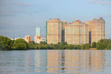 residental: MOSCOW - 15 JULY 2015: Red wings residental complex view from Strogino bay on July 15, 2015 in Moscow