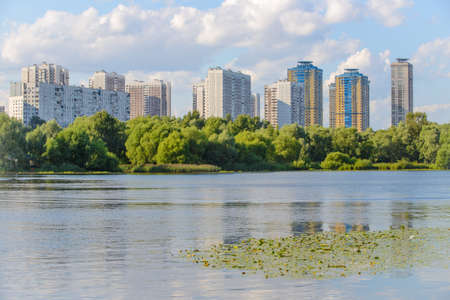 citypark: Strogino district in summertime view from S.Bor citypark on July 24, 2015 in Moscow