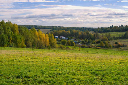 an agricultural district: Rural landscape with village in Dmitrov surroundings of Moscow region