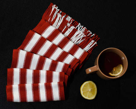 attribution: Composition with red-white scarf, lemon and teacup