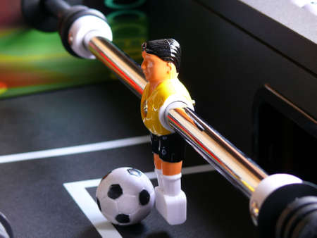 the keeper: Perspective view of the keeper on a soccer table game