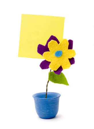 filled out: Handmade flower with a sticky note attached to the back. Can be filled out as wanted.