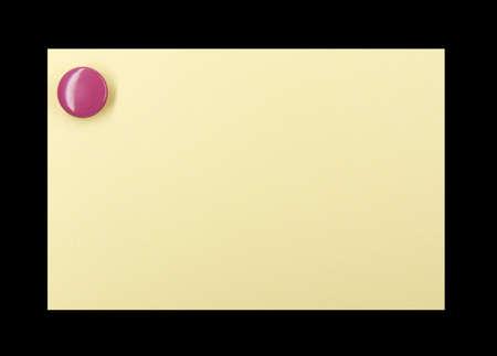 yellow pushpin: Purple pushpin holding up a yellow note on a black background