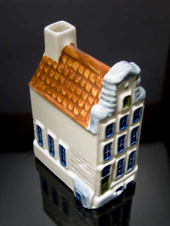 Dutch House on a black background with reflection Stock Photo - 2056993