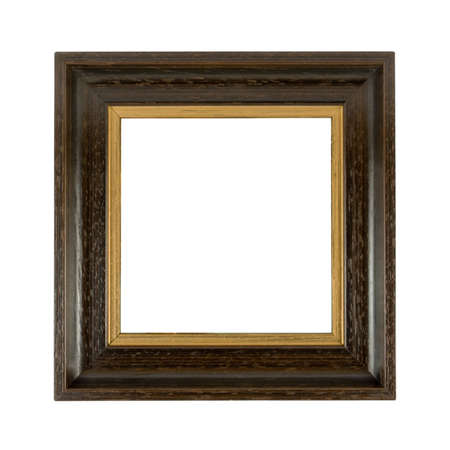 Old wooden photoframe isolated on a white background with copyspace Stock Photo