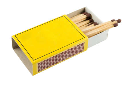 Matches in a matchbox on a white background with copy space photo