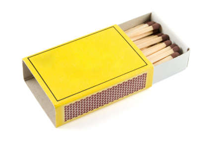 Matches in a matchbox on a white background with copy space Stock Photo - 2319679