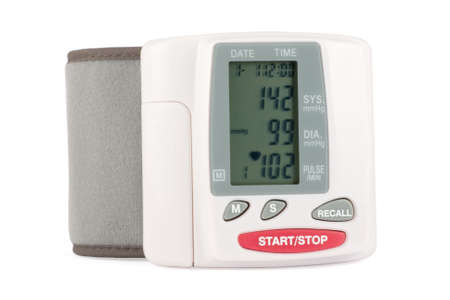 Closeup of a blood pressure measuring device isolated on a white background photo