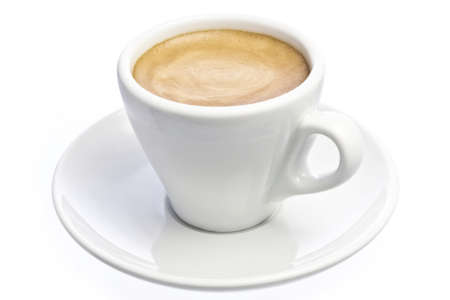 by espresso: A cup of espresso coffee with foam isolated over white Stock Photo