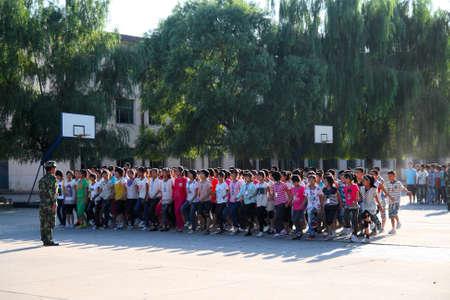 freshmen: Week of military training for freshmen in many secondary schools Xingtai City, Hebei Province, China, September 4, 2012  Editorial