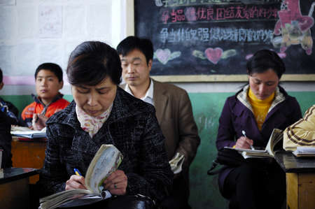 often: In China, the school often organizes teacher lectures each other.This form is to help each other teachers to improve teaching ability.The picture shows a teacher lectures into the situation.Xingtai City, Hebei Province, China, April 26, 2010.