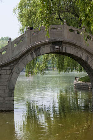 In the Chinese-style gardens, a stone bridge like a moon floating in the river  photo