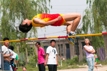 venues: Baixiang County, Hebei Province, China, May 14, 2013. Student Games  jump competition venues, athletes strive first, to strive for the best results.