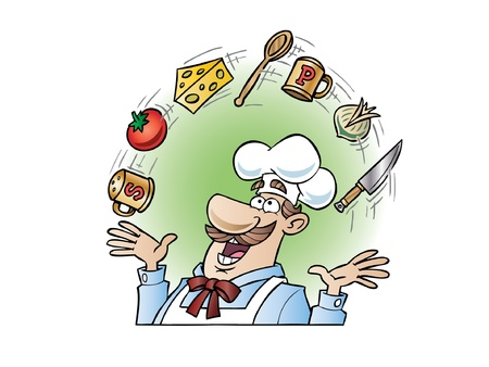 gourmet cooks: Chef juggling utensils and food items Illustration