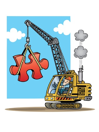Construction crane lifting giant red puzzle piece Illustration