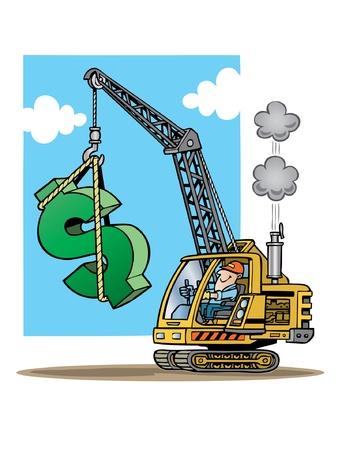 建設クレーン巨大なドル記号を持ち上げる