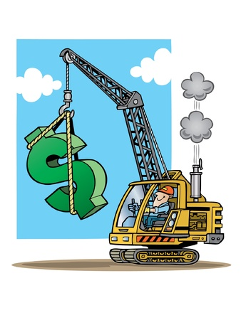 construction project: Construction crane lifting giant dollar sign Illustration