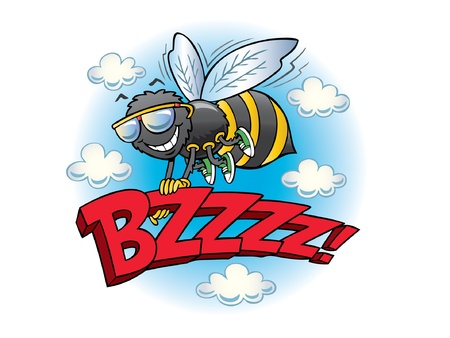 buzz: Flying bumblebee holding the word buzz Illustration