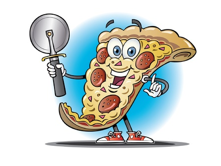 Cartoon pizza slice holding a pizza cutter