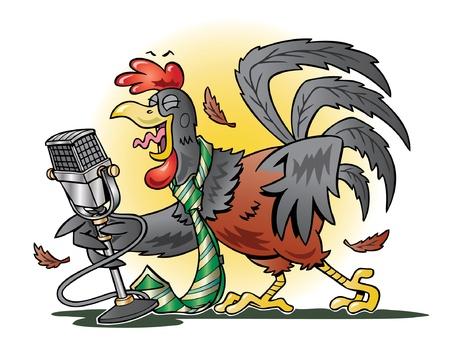 rooster at dawn: Gallo canto Rosso in un microfono Vettoriali