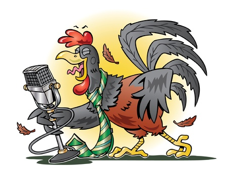 Red rooster crowing into a microphone