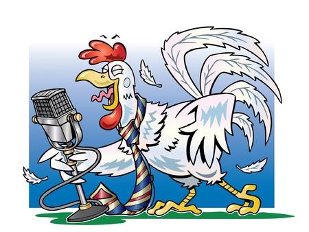 rooster at dawn: Gallo canto bianco in un microfono Vettoriali