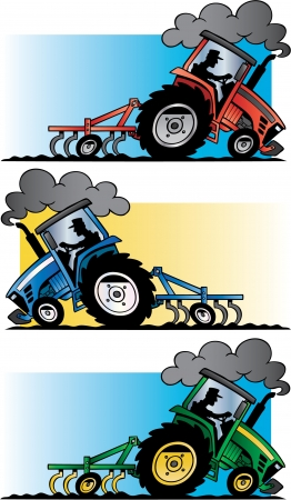 farm tractors plowing Stock Photo - 17469232