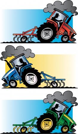 farm implements: farm tractors plowing