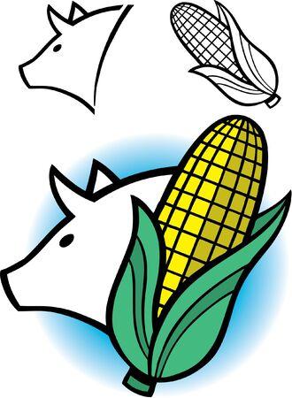 豚とトウモロコシのグラフィックの耳  イラスト・ベクター素材