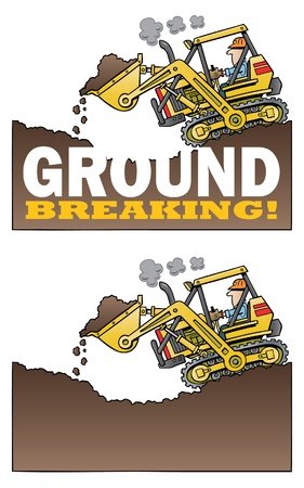 excavation: cartoon bulldozer ground breaking