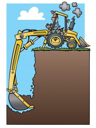 漫画のバックホウのトラクター、深い穴を掘る