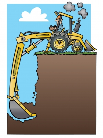 cartoon backhoe tractor digging a deep hole Vector