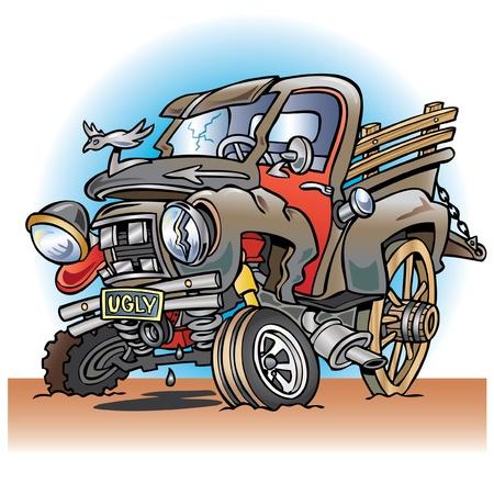 Ugly broken down farm truck Stock Illustratie