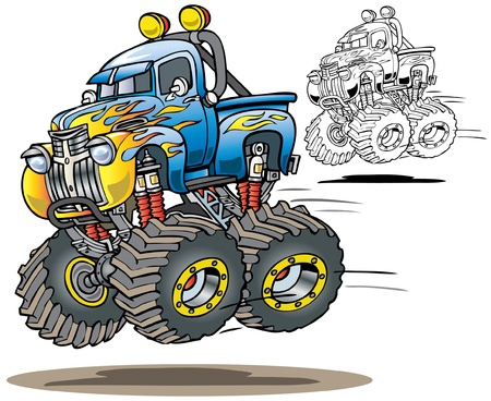 lift trucks: Cartoon Flamed Monster Truck in color and line art versions