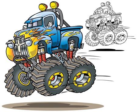 teherautók: Cartoon Lángolt Monster Truck a szín és a vonal art verzió