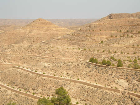 terracing: Lunar landscape in Matmat, Tunisia