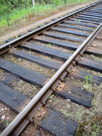 cross ties: The railway track close up Stock Photo