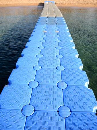 pontoon: Compound pontoon on the tourist beach. Egypt Stock Photo