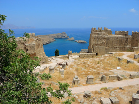 The ruins of an ancient castle in Lindos. Greece Stock Photo