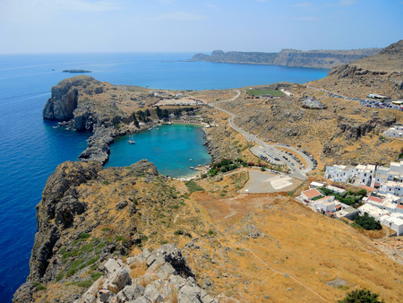 St. Pauls Bay in Rhodes. Cove in the shape of the heart.
