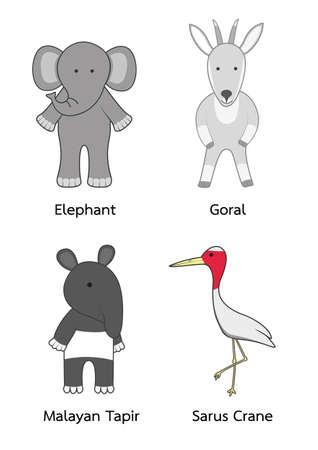 Set of cartoon character wildlife