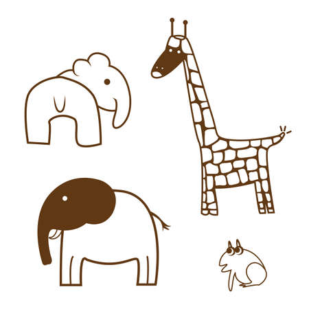 Line drawings of set animals