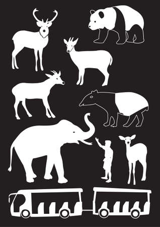 Silhouettes of the animals at the zoo Vector