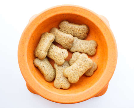 Dog food in the container Stock Photo
