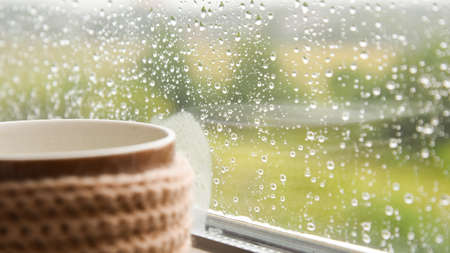 Steaming cup on a rainy day window background 写真素材