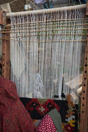 carpet loom, handmade manufacture of carpet Stock fotó