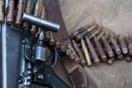 Close-up ammunition for a machine gun, ammunition Stok Fotoğraf
