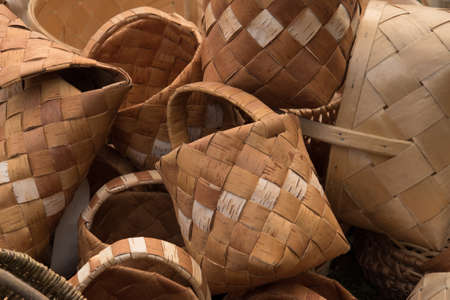 Tree bark baskets, close-up, background, sale fair handmade Stockfoto